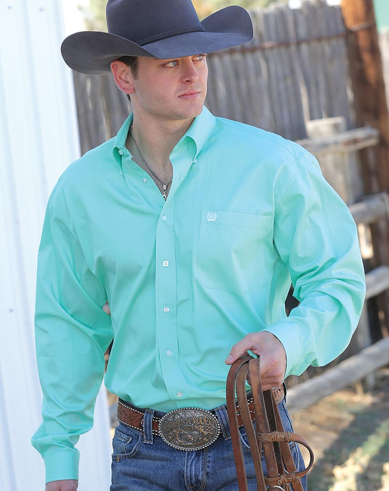 Men's Long Sleeve Solid Button Down Shirt - Mint Green