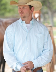Cinch Men's Long Sleeve Stripe Button Down Shirt- Blue