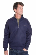 Cinch Men's Long Sleeve Zip Bonded Pullover - Blue