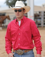 Cinch Men's Modern Fit Long Sleeve Solid Button Down Shirt - Pink