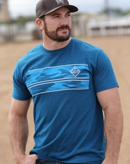 Cinch Men's Short Sleeve Print Logo Tee Shirt- Blue