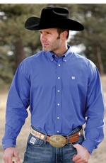 Cinch Men's Solid Long Sleeve Button Down Western Shirt - Blue