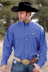 Cinch Men's Solid Long Sleeve Button Down Western Shirt - Blue (Closeout)