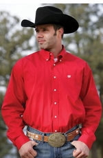 Cinch Men's Solid Long Sleeve Button Down Western Shirt - Red (Closeout)