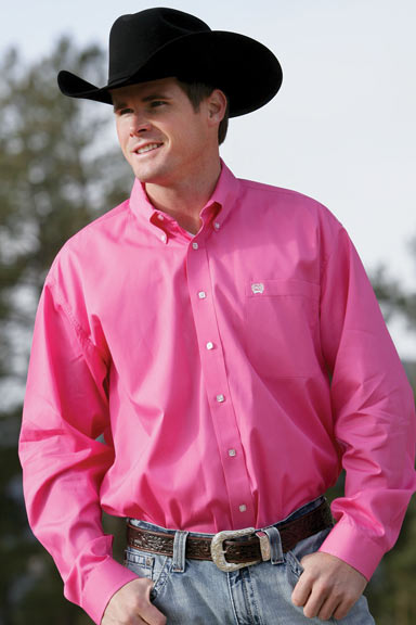 Cinch men s solid long sleeve western button down shirt pink 114814