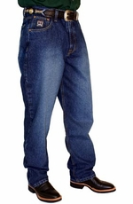 Cinch Mens Black Label Relaxed Fit Jeans (Dark Stonewash with Sandblast)