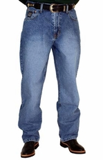 Cinch Mens Black Label Relaxed Fit Jeans (Medium Stonewash with Sandblast)