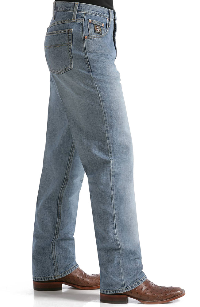 Cinch Mens Black Label Relaxed Fit Jeans with Sandblast - Medium Stonewash