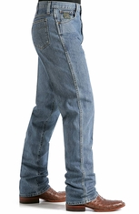 Cinch Men's Green Label Mid Rise Relaxed Fit Tapered Leg Jeans - Medium Stonewash