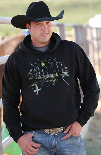Cinch Mens Fleece Pullover Logo Hoodie - Black