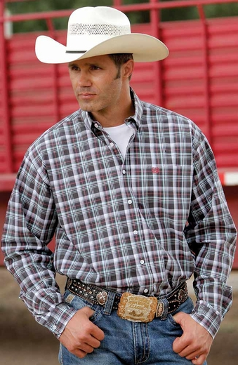 Cinch Mens Long Sleeve Button Down Plaid Western Shirt - Charcoal