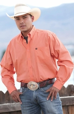 Cinch Mens Long Sleeve Dotted Down Western Shirt - Coral