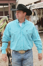 Cinch Mens Long Sleeve Double Pocket Plaid Button Down Western Shirt - Turquoise