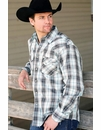 Cinch Mens Long Sleeve Modern Fit Plaid Snap Western Shirt - Grey
