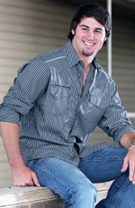 Cinch Mens Long Sleeve Modern Fit Stripe Snap Western Shirt - Charcoal (Closeout)