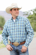 Cinch Mens Long Sleeve Plaid Button Down Western Shirt - Blue