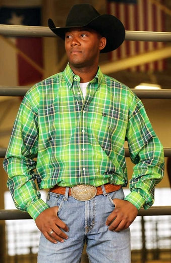 Cinch Mens Long Sleeve Plaid Button Down Western Shirt - Green