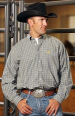 Cinch Mens Long Sleeve Plaid Button Down Western Shirt - White (Closeout)