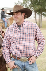 Cinch Mens Long Sleeve Plaid Button Down Western Shirt - White