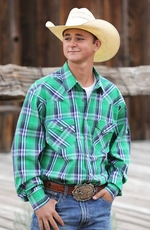 Cinch Mens Long Sleeve Plaid Modern Fit Snap Western Shirt - Green
