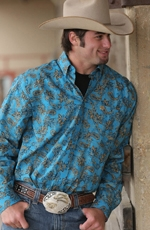 Cinch Mens Long Sleeve Print Button Down Western Shirt - Blue (Closeout)