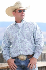 Cinch Mens Long Sleeve Printed Button Down Western Shirt - Green