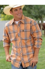 Cinch Mens Long Sleeve Slim Fit Plaid Western Button Down Shirt - Orange