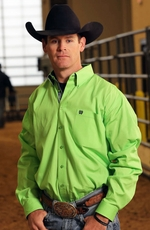 Cinch Mens Long Sleeve Solid Button Down Western Shirt - Lime