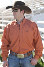 Cinch Mens Long Sleeve Solid Button Down Western Shirt - Orange