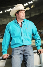 Cinch Mens Long Sleeve Solid Button Down Western Shirt - Turquoise