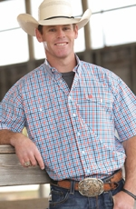 Cinch Mens Short Sleeve Double Pocket Plaid Button Down Western Shirt - White