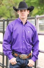 Cinch Mens Solid Long Sleeve Button Down Western Shirt - Purple