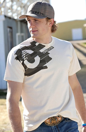 Cinch Mens Logo Tee Shirt - Cream