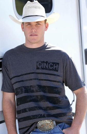 Cinch Mens Modern Fit Logo Tee Shirt - Heather
