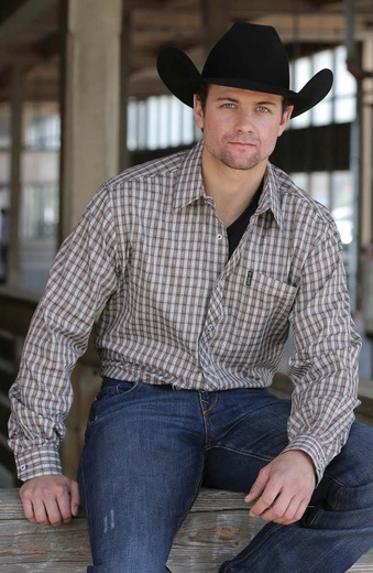Cinch Mens Long Sleeve Modern Fit Plaid Button Down Western Shirt - Cream (Closeout)