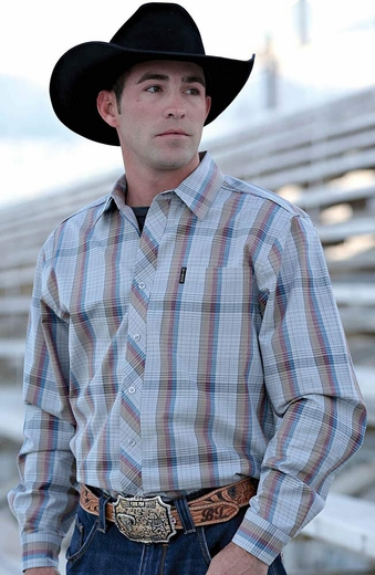 Cinch Mens Long Sleeve Modern Fit Plaid Button Down Western Shirt - Grey