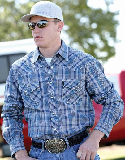 Cinch Mens Long Sleeve Modern Fit Plaid Snap Western Shirt - Blue