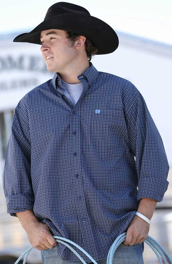 Cinch Mens Long Sleeve Plaid Button Down Western Shirt - Navy