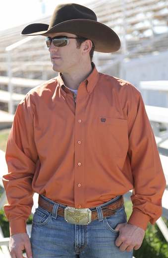 Cinch Mens Long Sleeve Solid Button Down Western Shirt - Orange (Closeout)
