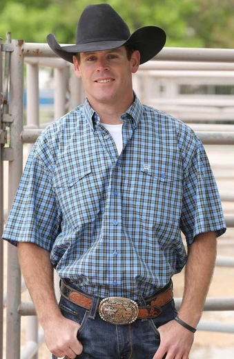 Cinch Mens Short Sleeve Double Pocket Plaid Button Down Western Shirt - Blue