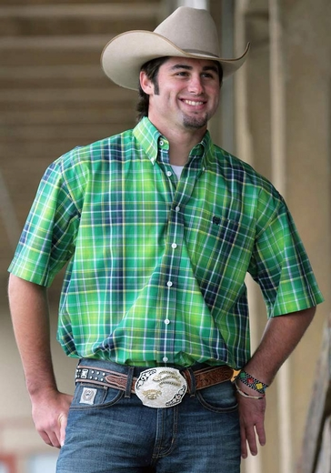 Cinch Mens Short Sleeve Plaid Button Down Western Shirt - Lime
