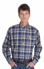 Cinch Mens Work Fire Resistant Long Sleeve Plaid Button Down Western Shirt - Khaki (Closeout)