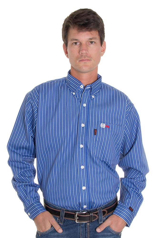 Cinch Mens Work Fire Resistant Long Sleeve Striped Button Down Shirt - Royal