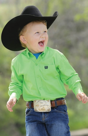 Cinch Toddlers Long Sleeve Solid Button Down Western Shirt - Lime (Closeout)