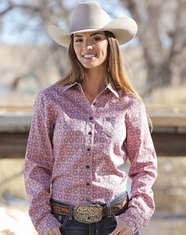 Cinch Women's Long Sleeve Print Button Down Shirt - Pink