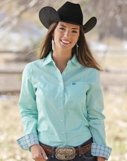 Cinch Women's Long Sleeve Print Button Down Shirt - Turquoise