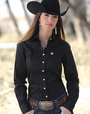 Cinch Women's Long Sleeve Solid Button Down Shirt - Black