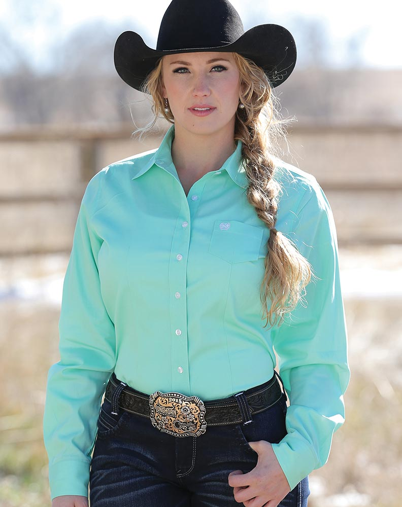 Cinch Women S Long Sleeve Solid Button Down Shirt Mint Green