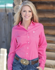 Cinch Women's Long Sleeve Solid Button Down Shirt - Pink