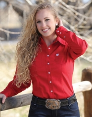 Cinch Women's Long Sleeve Solid Button Down Shirt - Red